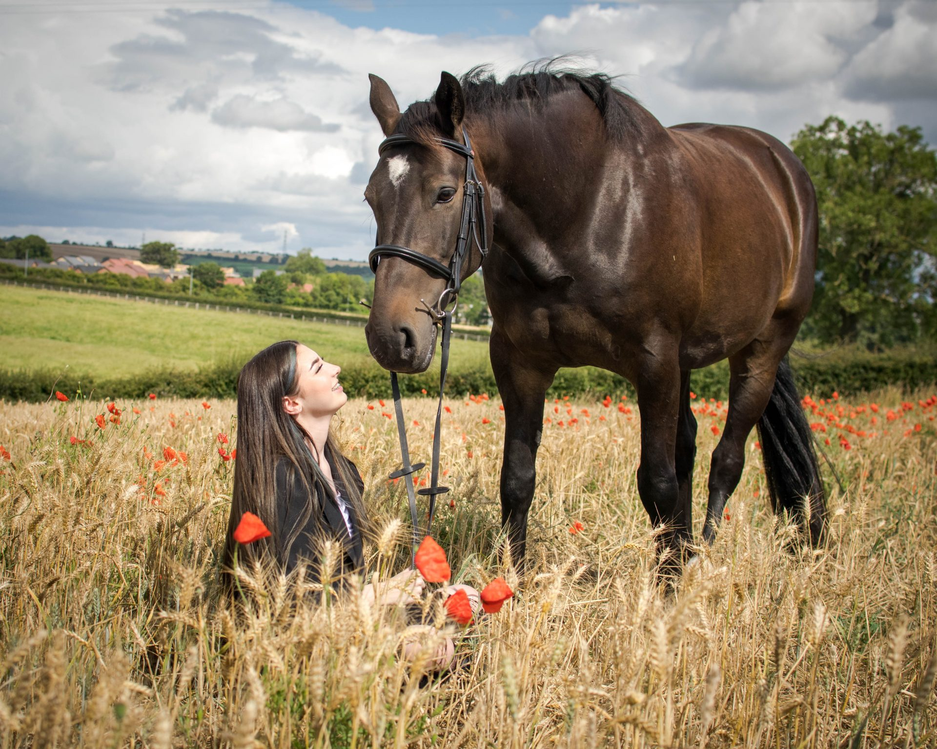 Horse photoshoot with girl sat in poppies
