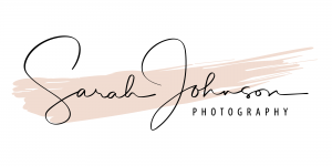 Sarah Johnson Photography Logo with Pink line through